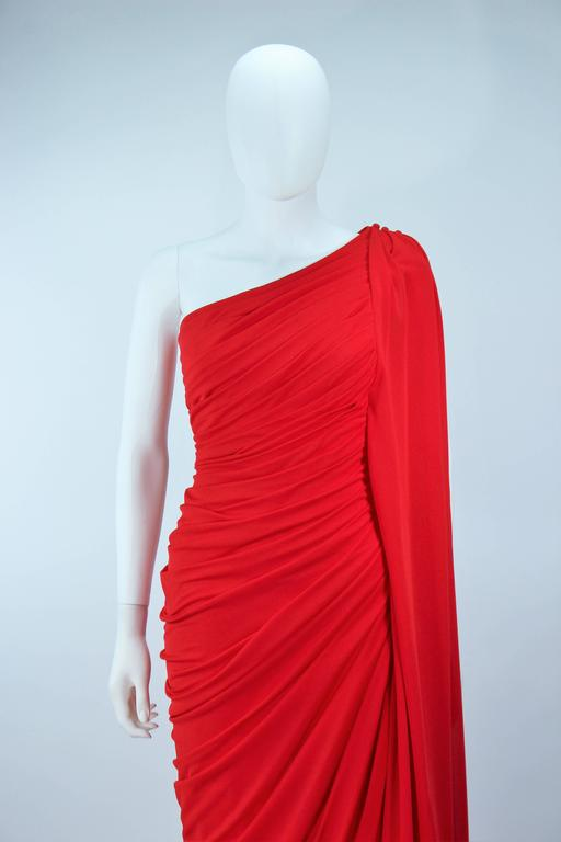 ESTEVEZ Red Draped Gathered Jersey Goddess Gown Size 8 10 In Excellent Condition For Sale In Los Angeles, CA