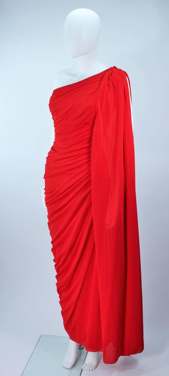 ESTEVEZ Red Draped Gathered Jersey Goddess Gown Size 8 10 For Sale 1
