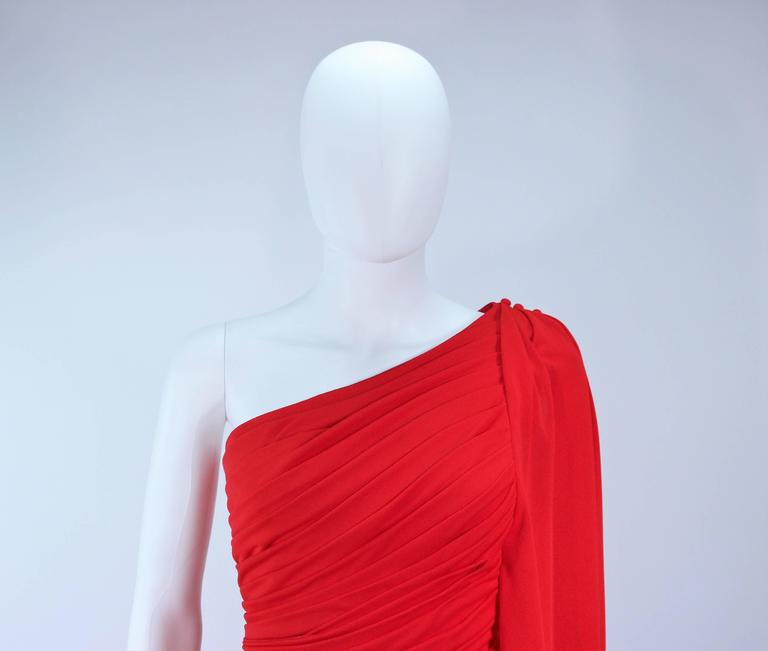 Women's ESTEVEZ Red Draped Gathered Jersey Goddess Gown Size 8 10 For Sale