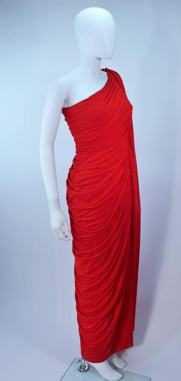 ESTEVEZ Red Draped Gathered Jersey Goddess Gown Size 8 10 For Sale 3