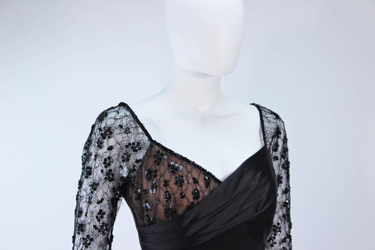 TRAVILLA Black Silk Gown with Bead Lace Size 8 For Sale 1