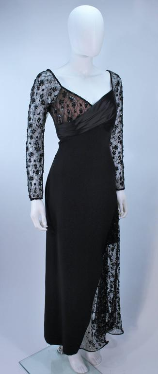 Women's TRAVILLA Black Silk Gown with Bead Lace Size 8 For Sale