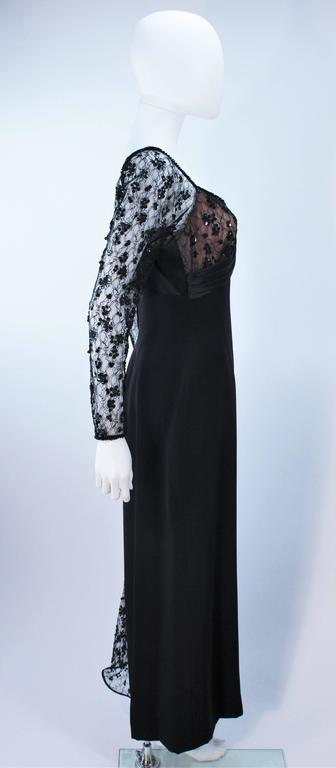 TRAVILLA Black Silk Gown with Bead Lace Size 8 For Sale 3