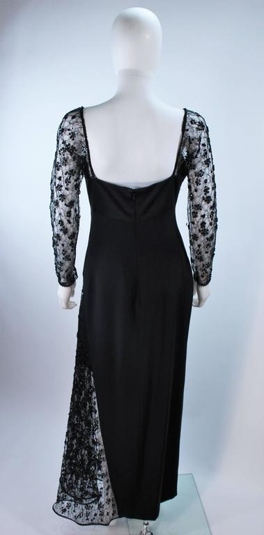 TRAVILLA Black Silk Gown with Bead Lace Size 8 For Sale 4
