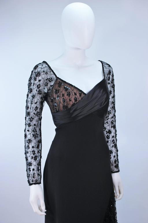TRAVILLA Black Silk Gown with Bead Lace Size 8 For Sale 2