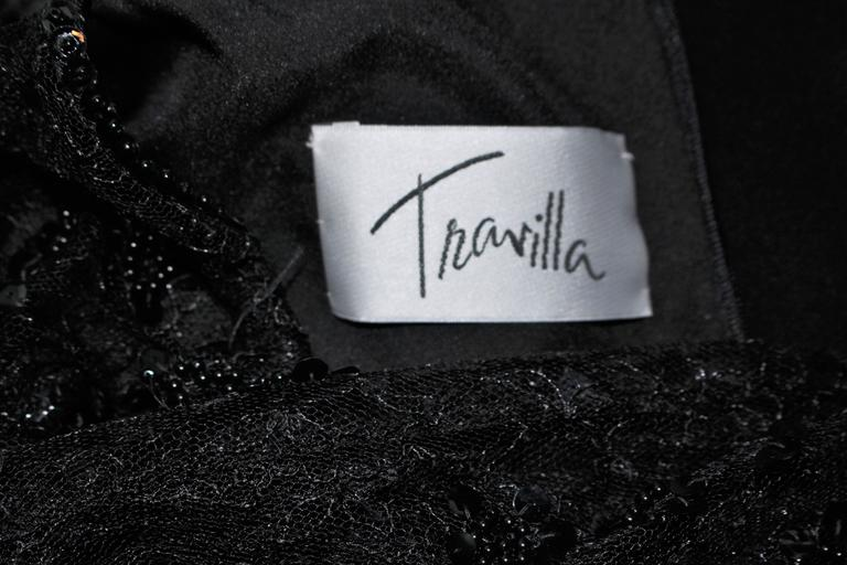 TRAVILLA Black Silk Gown with Bead Lace Size 8 For Sale 5
