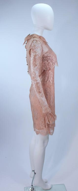BILL BLASS Nude Peach Lace Cocktail Dress with Over Blouse Size 6 5
