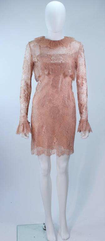 BILL BLASS Nude Peach Lace Cocktail Dress with Over Blouse Size 6 2