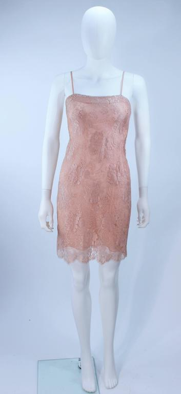 BILL BLASS Nude Peach Lace Cocktail Dress with Over Blouse Size 6 9
