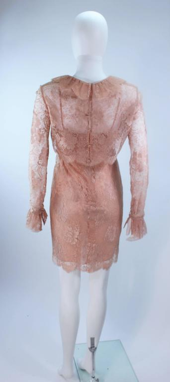 BILL BLASS Nude Peach Lace Cocktail Dress with Over Blouse Size 6 7