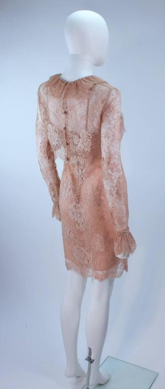BILL BLASS Nude Peach Lace Cocktail Dress with Over Blouse Size 6 6