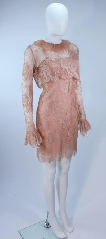 BILL BLASS Nude Peach Lace Cocktail Dress with Over Blouse Size 6 4