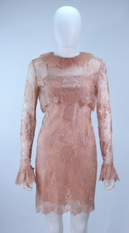 BILL BLASS Nude Peach Lace Cocktail Dress with Over Blouse Size 6 3