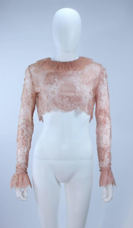 BILL BLASS Nude Peach Lace Cocktail Dress with Over Blouse Size 6 8