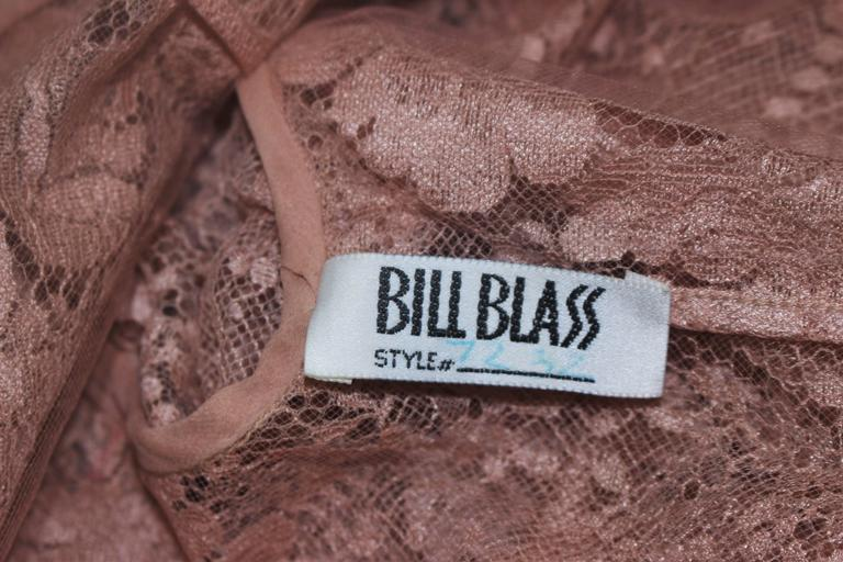 BILL BLASS Nude Peach Lace Cocktail Dress with Over Blouse Size 6 10