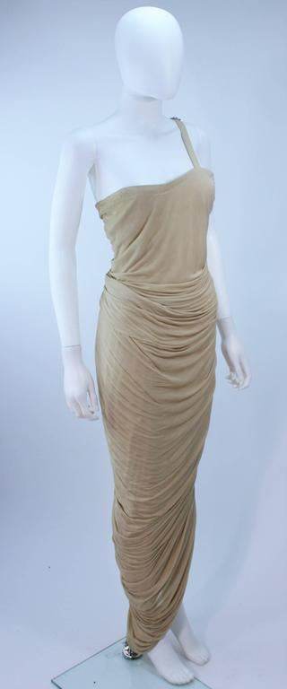 ELIZABETH MASON COUTURE Rhinestone Nude Jersey Draped Gown Made to Order 3
