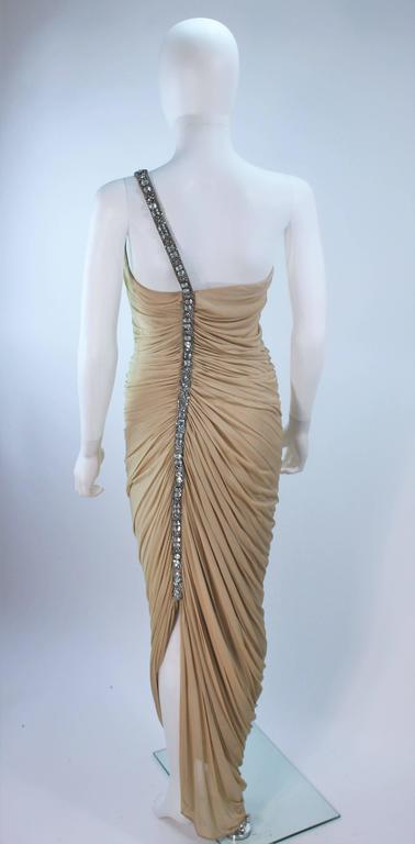 ELIZABETH MASON COUTURE Rhinestone Nude Jersey Draped Gown Made to Order 6
