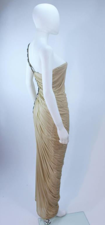 ELIZABETH MASON COUTURE Rhinestone Nude Jersey Draped Gown Made to Order 5