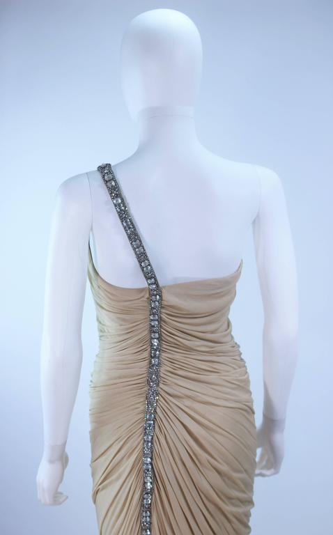 ELIZABETH MASON COUTURE Rhinestone Nude Jersey Draped Gown Made to Order 7