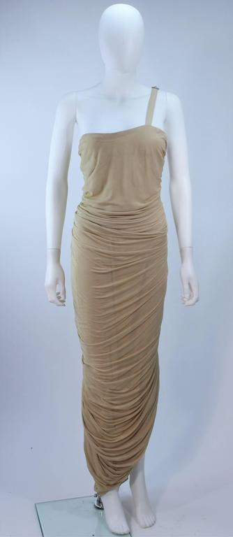 ELIZABETH MASON COUTURE Rhinestone Nude Jersey Draped Gown Made to Order 2