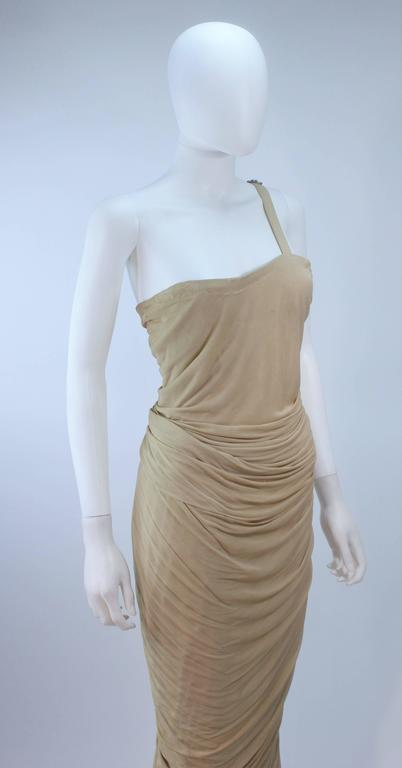 ELIZABETH MASON COUTURE Rhinestone Nude Jersey Draped Gown Made to Order 4