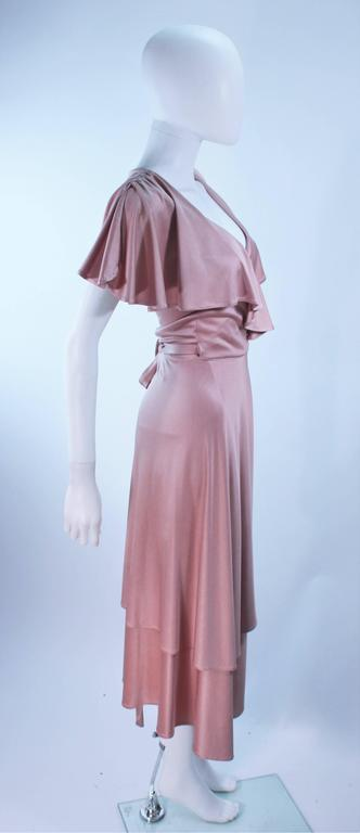 ELIZABETH MASON COUTURE Blush Silk Jersey Ruffled Cocktail Dress Made to Order 7