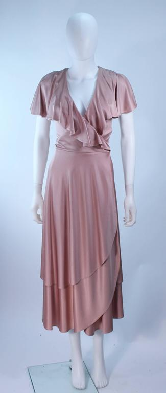 ELIZABETH MASON COUTURE Blush Silk Jersey Ruffled Cocktail Dress Made to Order 2
