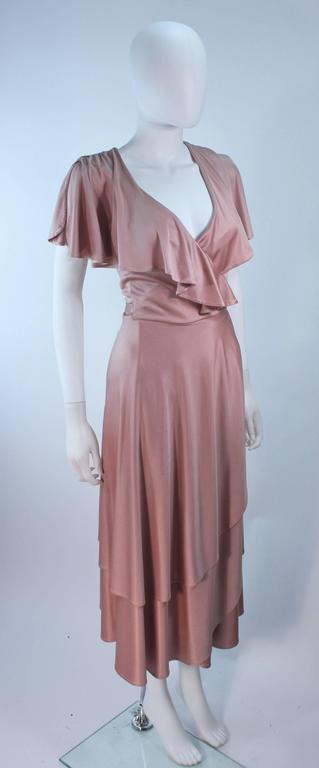 ELIZABETH MASON COUTURE Blush Silk Jersey Ruffled Cocktail Dress Made to Order 4