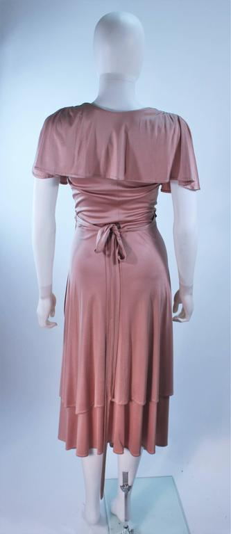 ELIZABETH MASON COUTURE Blush Silk Jersey Ruffled Cocktail Dress Made to Order 9