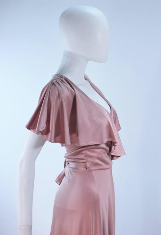 ELIZABETH MASON COUTURE Blush Silk Jersey Ruffled Cocktail Dress Made to Order 8