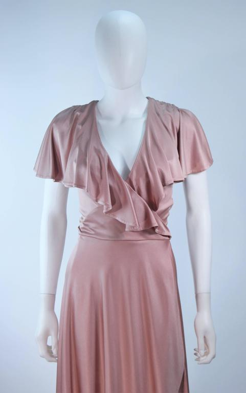 ELIZABETH MASON COUTURE Blush Silk Jersey Ruffled Cocktail Dress Made to Order 3
