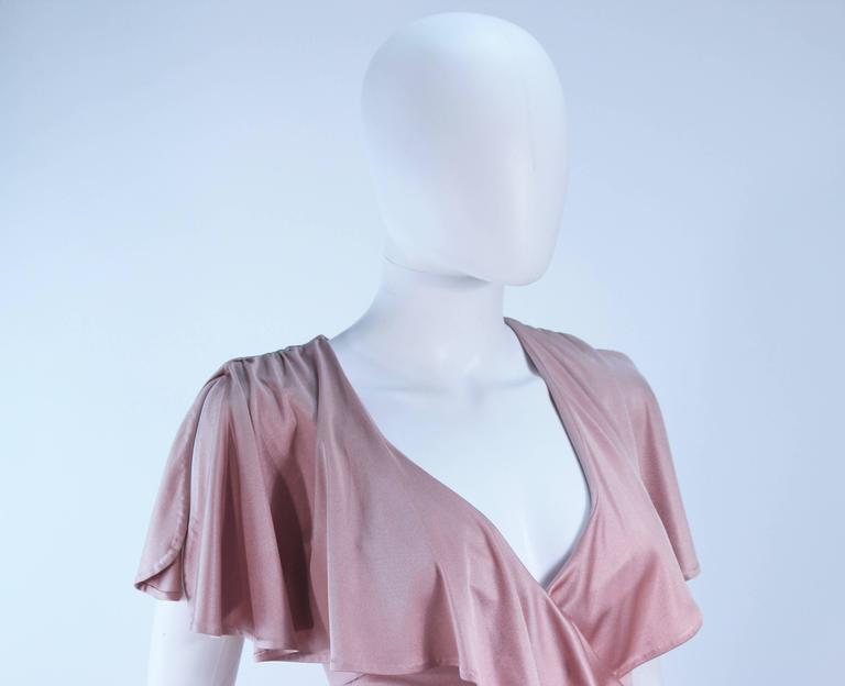 ELIZABETH MASON COUTURE Blush Silk Jersey Ruffled Cocktail Dress Made to Order 6