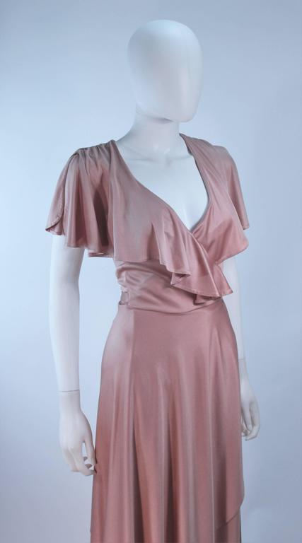 ELIZABETH MASON COUTURE Blush Silk Jersey Ruffled Cocktail Dress Made to Order 5