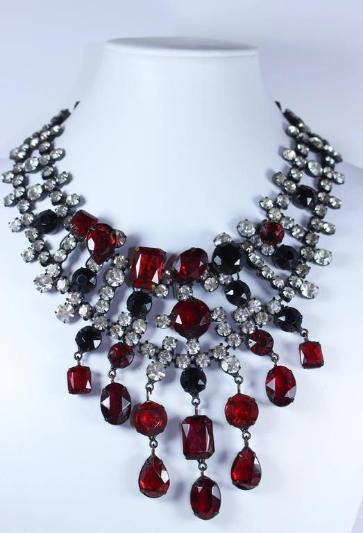 KENNETH JAY LANE Attributed Black Metal and Rhinestone Statement Necklace 2