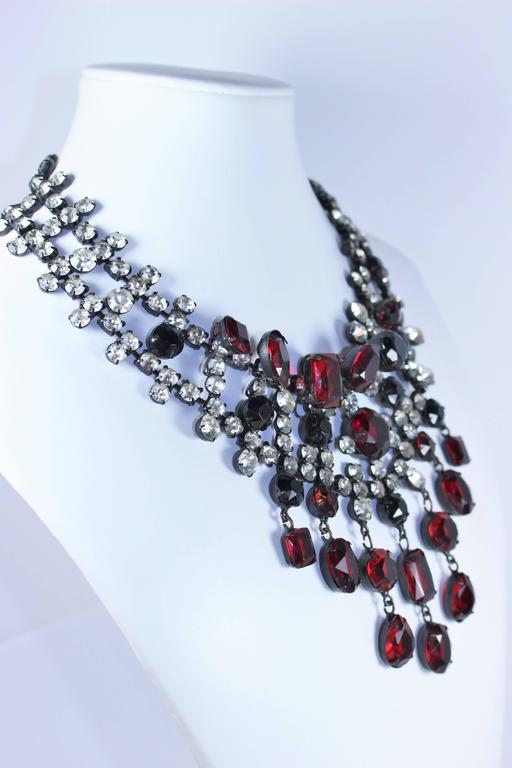 KENNETH JAY LANE Attributed Black Metal and Rhinestone Statement Necklace 7