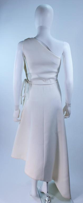 GIVENCHY HAUTE COUTURE White Asymmeterical Gown with Button Detail Size 2 4 9