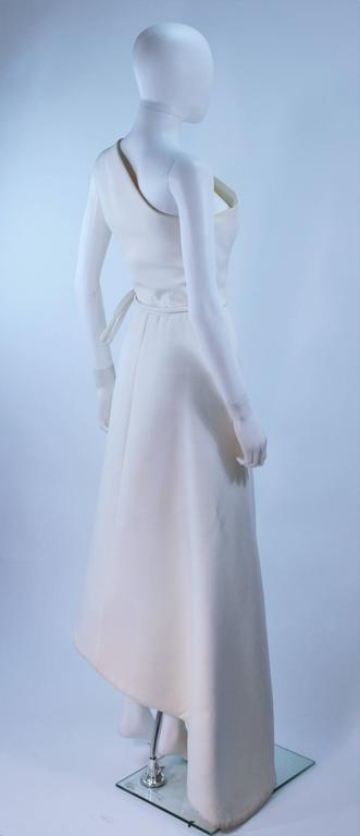 GIVENCHY HAUTE COUTURE White Asymmeterical Gown with Button Detail Size 2 4 8