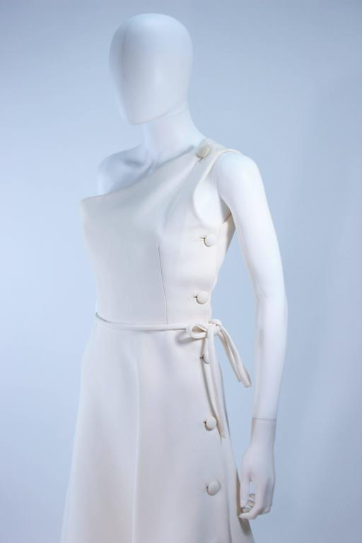 GIVENCHY HAUTE COUTURE White Asymmeterical Gown with Button Detail Size 2 4 6