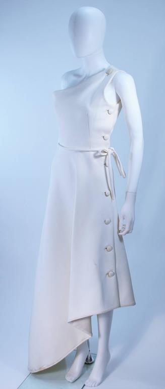 GIVENCHY HAUTE COUTURE White Asymmeterical Gown with Button Detail Size 2 4 5