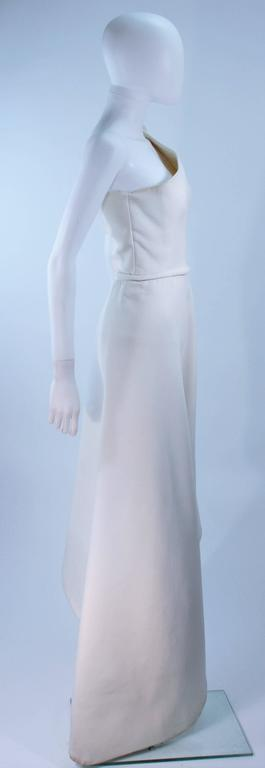 GIVENCHY HAUTE COUTURE White Asymmeterical Gown with Button Detail Size 2 4 7