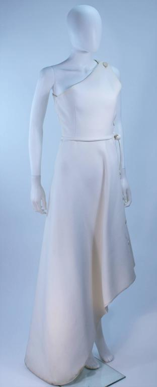 GIVENCHY HAUTE COUTURE White Asymmeterical Gown with Button Detail Size 2 4 In Excellent Condition For Sale In Los Angeles, CA