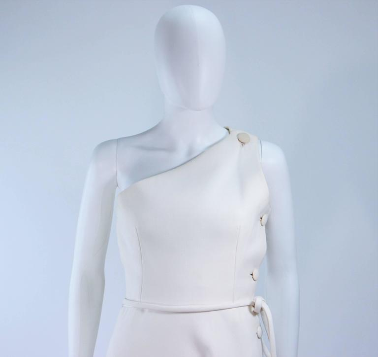 GIVENCHY HAUTE COUTURE White Asymmeterical Gown with Button Detail Size 2 4 3