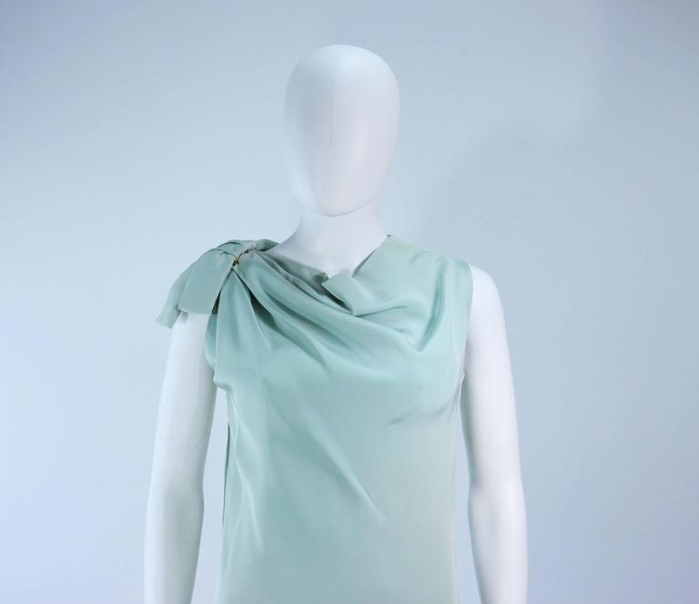 Blue CHRISTIAN DIOR HAUTE COUTURE Aqua Draped Gown Size 0 2 For Sale