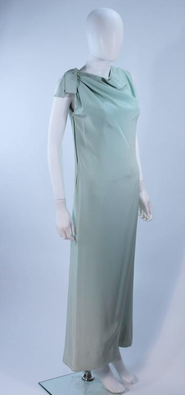 CHRISTIAN DIOR HAUTE COUTURE Aqua Draped Gown Size 0 2 In Excellent Condition For Sale In Los Angeles, CA