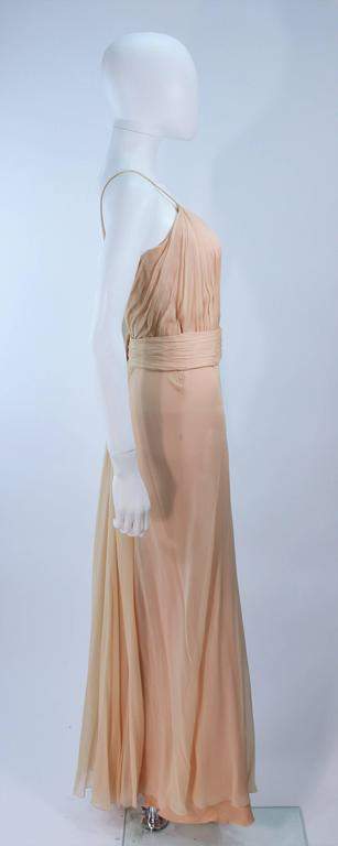 CEIL CHAPMAN Nude Chiffon Draped Gown Size 2 4 For Sale 2