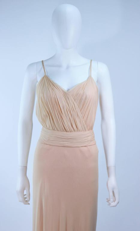 Brown CEIL CHAPMAN Nude Chiffon Draped Gown Size 2 4 For Sale