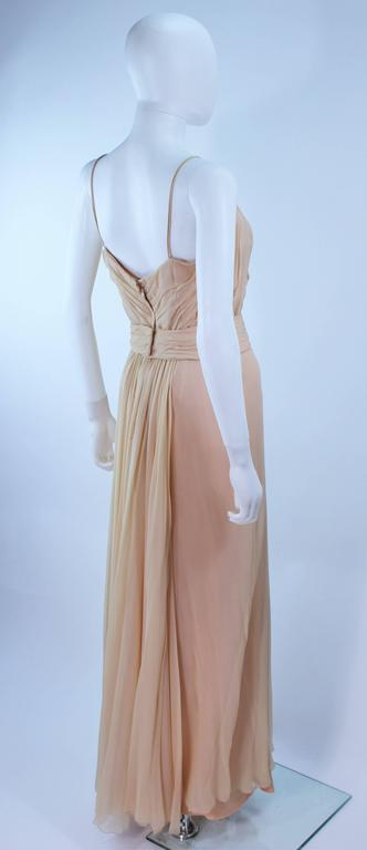 CEIL CHAPMAN Nude Chiffon Draped Gown Size 2 4 For Sale 3
