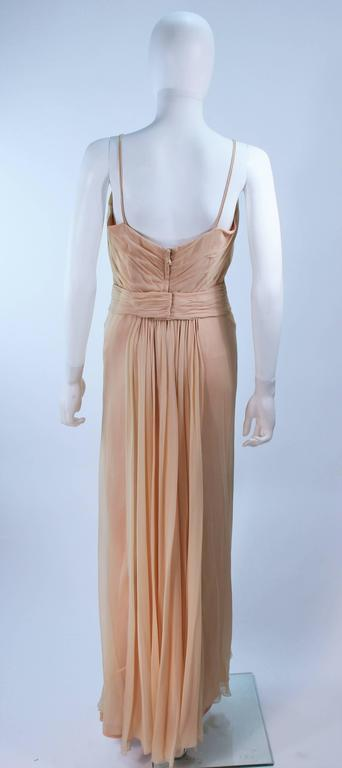 CEIL CHAPMAN Nude Chiffon Draped Gown Size 2 4 For Sale 4