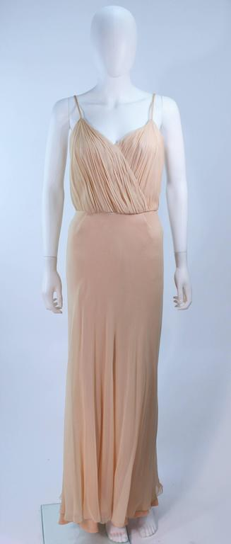 Women's CEIL CHAPMAN Nude Chiffon Draped Gown Size 2 4 For Sale