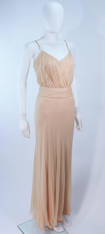 CEIL CHAPMAN Nude Chiffon Draped Gown Size 2 4 For Sale 1